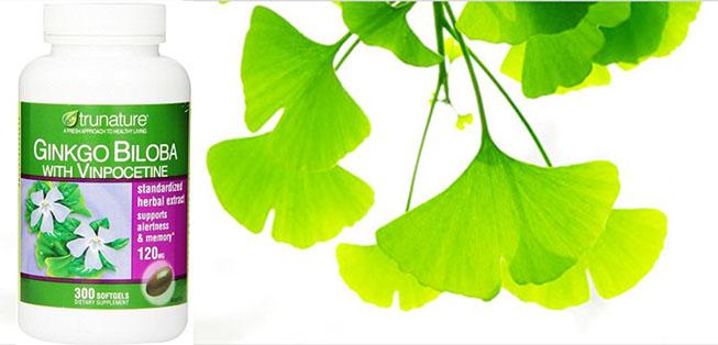 Ginko biloba 120 mg with Vinpocetine 5 mg lọ 300 viên hãng Trunature Mỹ