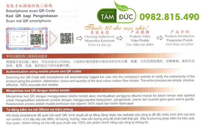 phân biệt tuyết liên phong thấp linh hàng chính hãng bằng QR code